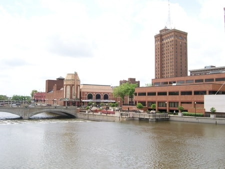Downtown bridge area of Aurora Illinois