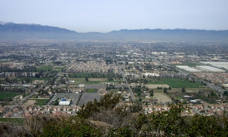 Fontana California aerial view overlooking the city and residential area