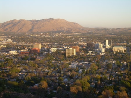 Aerial mountain view of Riverside California